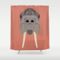 walrus Shower Curtains featuring Walrus by Aaron Keshen