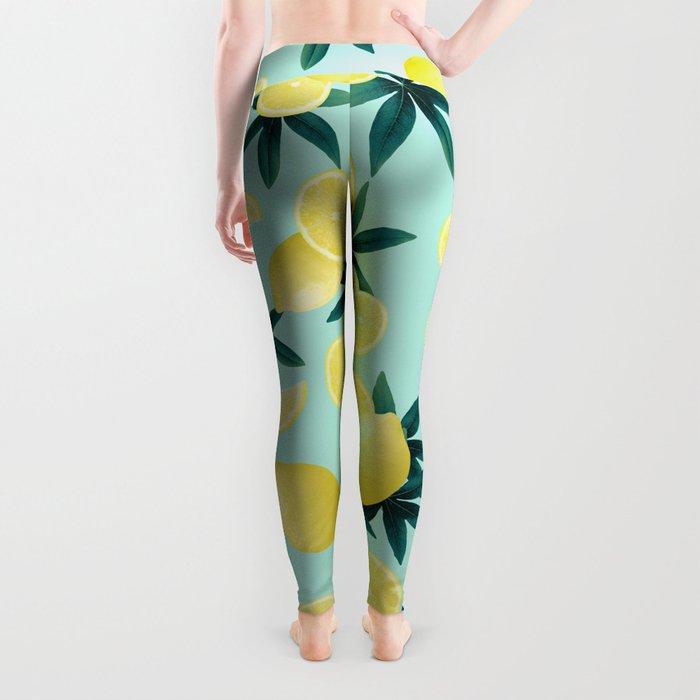 Lemon Twist Vibes #1 #tropical #fruit #decor #art #society6 Leggings
