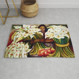1938 Classical Masterpiece 'Alcatraces Flower Seller' by Diego Rivera Rug
