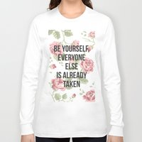 vintage flowers Long Sleeve T-shirts featuring Vintage by Fruzsina Kuhari