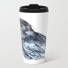 Crow with Blue Metal Travel Mug