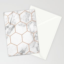 Rose gold marble hexagons honeycomb pattern Stationery Cards