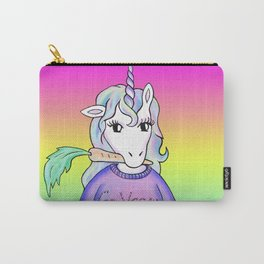go vegan unicorn rainbow Carry-All Pouch