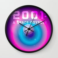 2001 a space odyssey Wall Clocks featuring 2001 a Space Odyssey by Scar Design