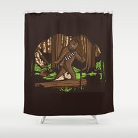 bigfoot Shower Curtains featuring The Bigfoot of Endor by Hoborobo