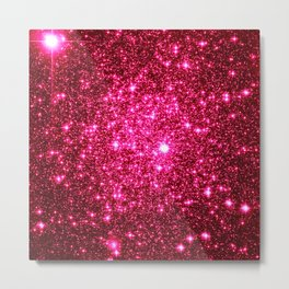 Hot Pink Glitter Galaxy Stars Metal Print