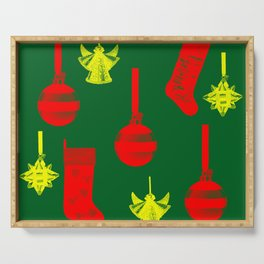 Christmas ornaments gold red pattern on green background Serving Tray
