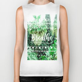 Modern typography breathe green tropical palm tree forest photography white boho geometric Biker Tank