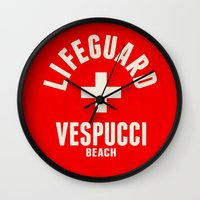 grand theft auto Wall Clocks featuring Los Santos Vespucci Beach Lifeguard Grand Theft Auto by KeenaKorn