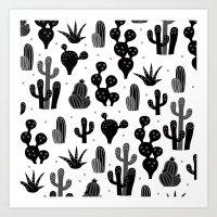 Cactus garden black and white Art Print