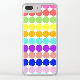 Stylized round multi-colored flowers (white background) Clear iPhone Case