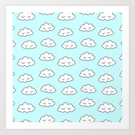 Clouds dreaming in blue with closed eyes and eyelashes Art Print