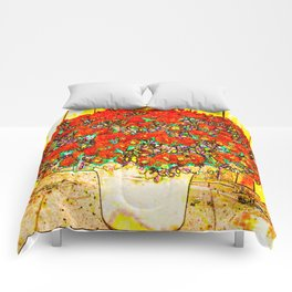 Red Mums Comforters