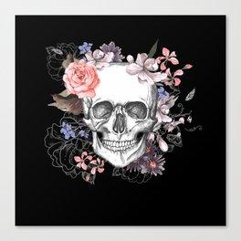 Dia Los Muertos, Floral Skull Canvas Print