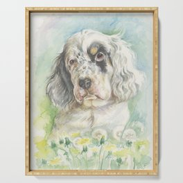 ENGLISH SETTER PUPPY Cute dog portrait on the dandelions meadow Serving Tray