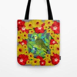 RED-YELLOW HIBISCUS & GREEN PARROT JUNGLE GRAY  ART n Tote Bag