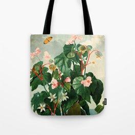 Pink Floral The Oblique-Leaved Begonias : Temple of Flora Tote Bag