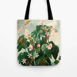 Pink Floral The Oblique-Leaved Begonias : Temple of Flora Tote Bag