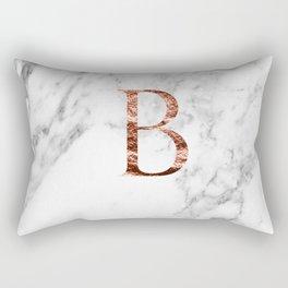 Monogram rose gold marble B Rectangular Pillow
