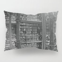 A Book Lover's Dream - Cast-iron Book Alcoves of Leather bound books Old Cincinnati Public Library Pillow Sham