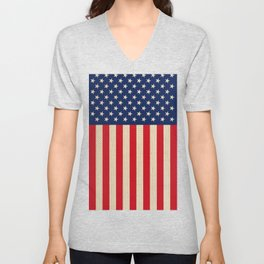 USA faux burlap flag Unisex V-Neck