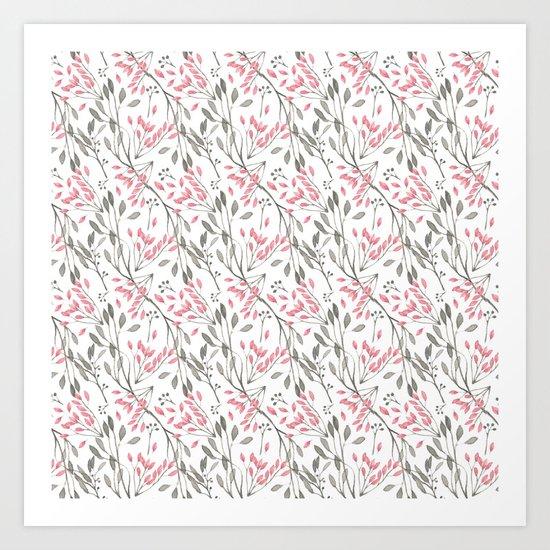 Delicate Floral Pattern 04 Art Print