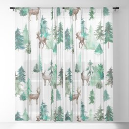 Deers and Forest Trees Sheer Curtain