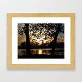 Kansas Golden Sunset Reflection Framed Art Print
