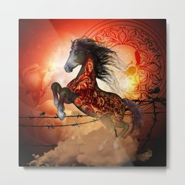 Awesome creepy running horse with skulls Metal Print