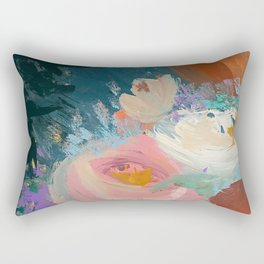 Sweet Nothings: a colorful floral abstract in pinks, reds, blues, and white Rectangular Pillow