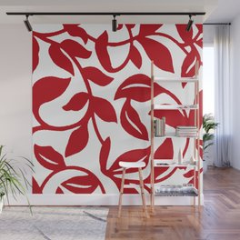 LEAF PALM VINE IN RED AND WHITE PATTERN Wall Mural