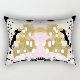 Simone - abstract painting gold foil trendy hipster pastel pink modern trendy colors decor college Rectangular Pillow