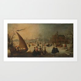 Landscape with frozen Canal, Skaters and an Ice-Boat, Adam van Breen, 1611 Art Print