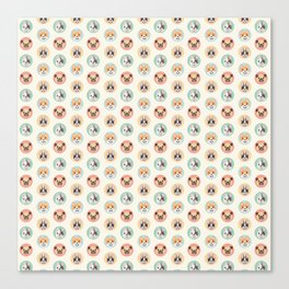 Circle Pup Pattern Canvas Print