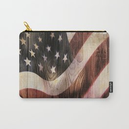 AMERICAN FLAG WOODEN Carry-All Pouch