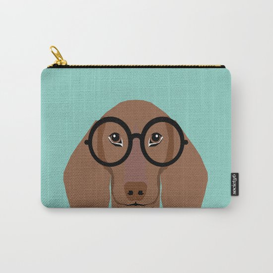 Remy - Daschund with Fashion glasses, hipster glasses, hipster dog, doxie,  Carry-All Pouch
