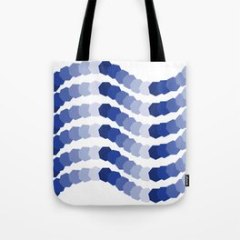 Monochromatic Blue Heptagon Waves Tote Bag