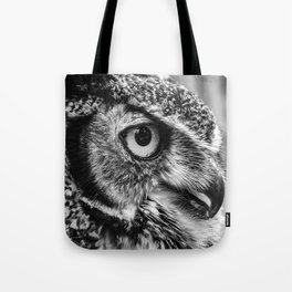 Bird Photography | Owl Black and White Minimalism | Wildlife | By Magda Opoka Tote Bag