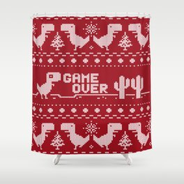 Game Over Christmas Day Shower Curtain
