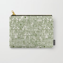 retro circus green ivory Carry-All Pouch