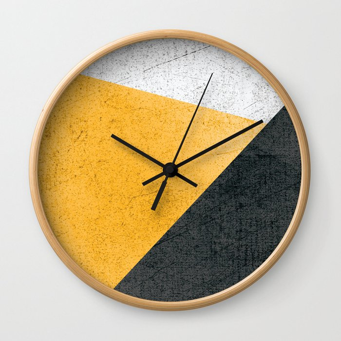 Modern Yellow & Black Geometric Wall Clock