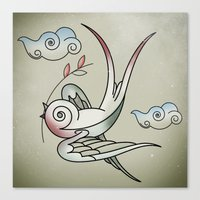sparrow Canvas Prints featuring Sparrow by Vin Zzep