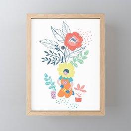 Flower Girl in the Garden Framed Mini Art Print