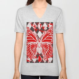 DECORATIVE RED & WHITE HARLEQUIN  PATTERN Unisex V-Neck