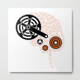Brain Chain Colored Metal Print
