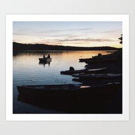 Tiny Boat & Paddle-boards at Sunset Art Print