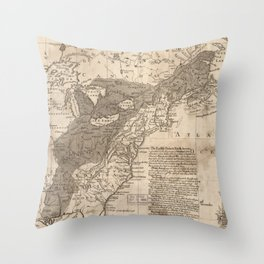 British and French Settlements of America (1755) Throw Pillow