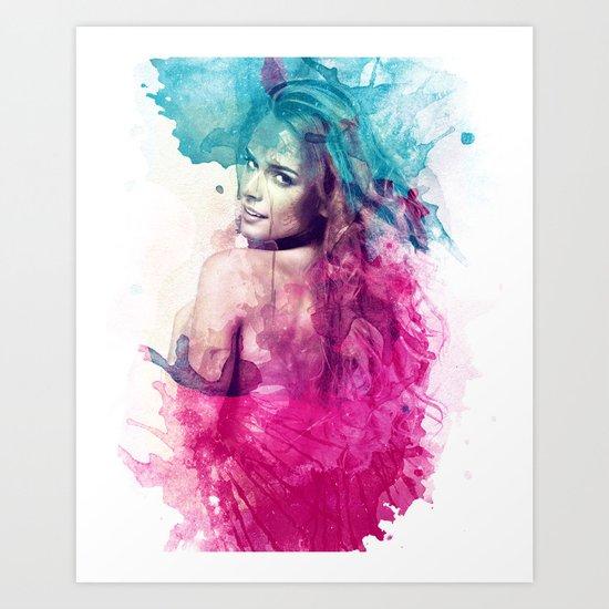 Woman in Splash of Watercolor Art Print