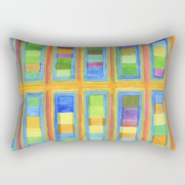 Striped Color Fields in Orange Grid Rectangular Pillow