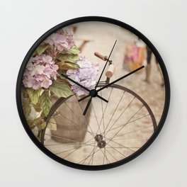 Bike with flowers Wall Clock